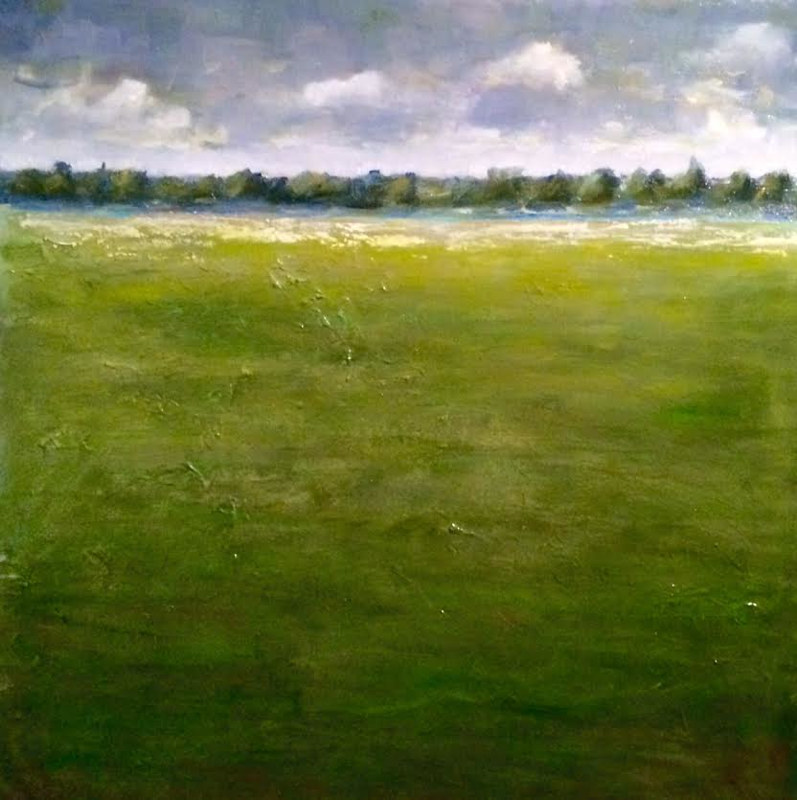 Oil painting Field with Clouds- SOLD by Sarah Trundle