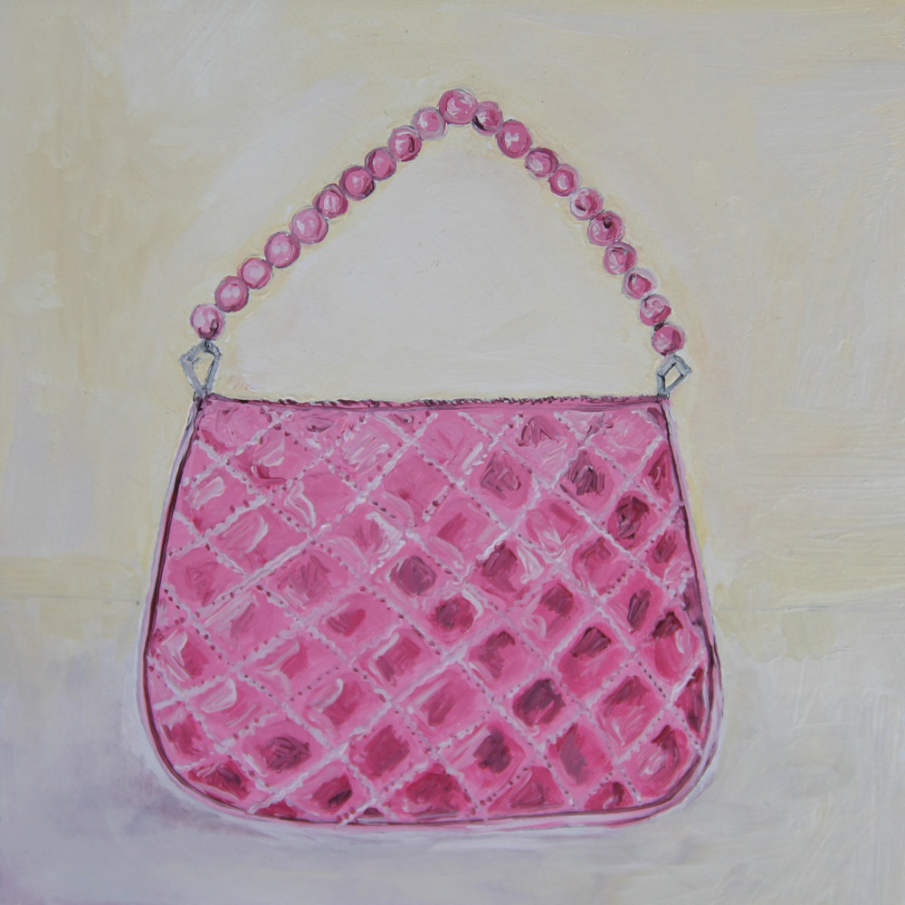 Oil painting little pink bag by Katherine Bennett