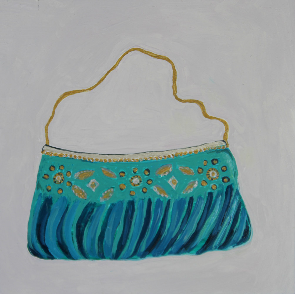 Oil painting fancy green purse by Katherine Bennett