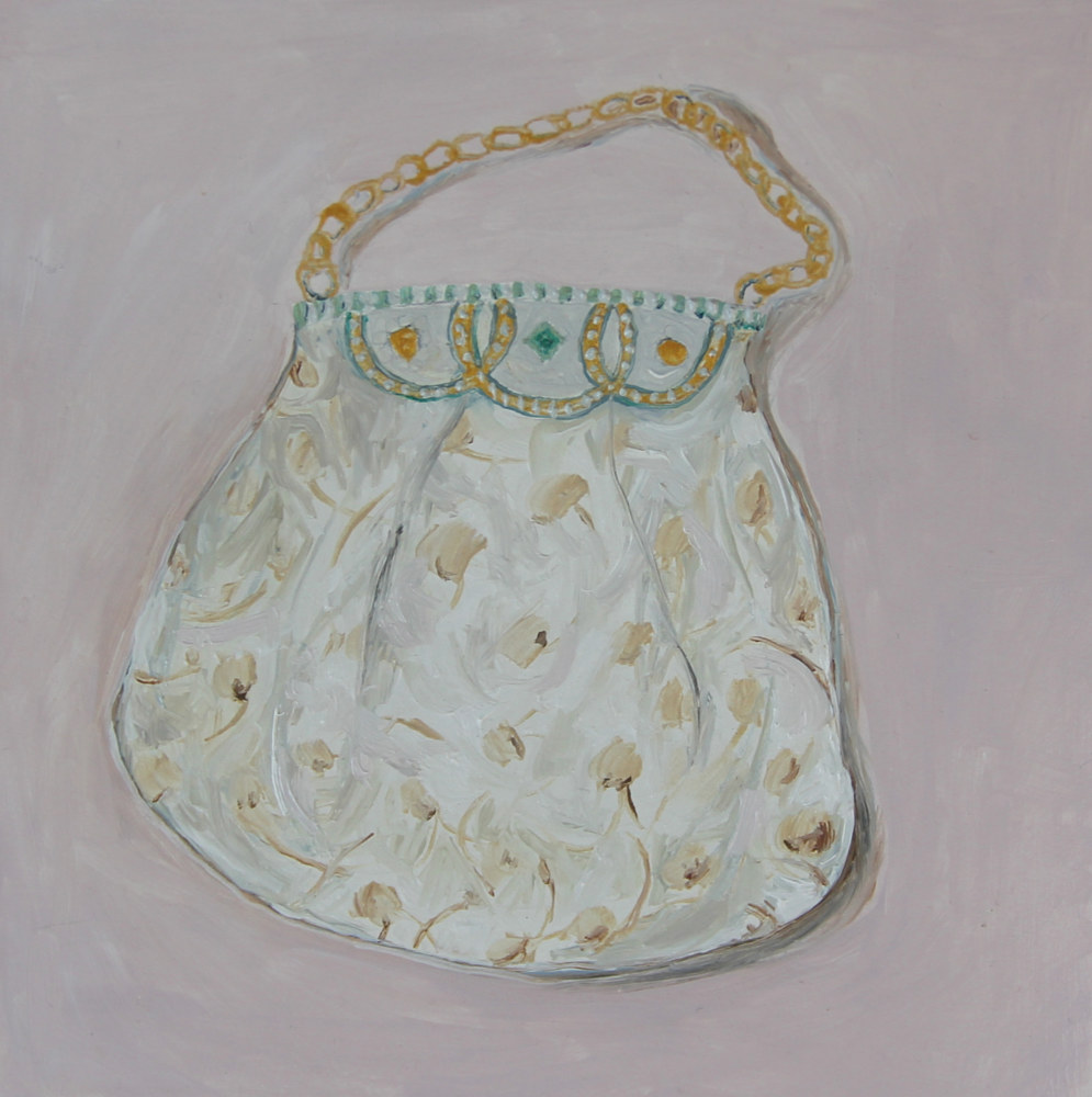 Oil painting dandelion purse by Katherine Bennett