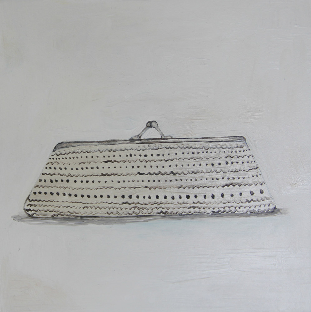 Oil painting silver clutch by Katherine Bennett