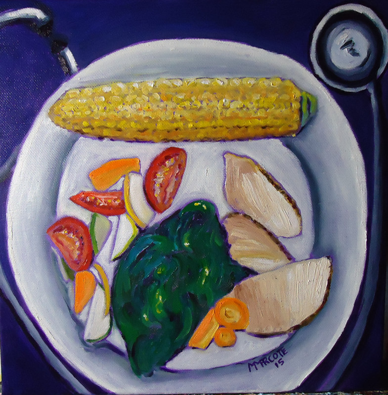 Oil painting Clare's Dinner (August) by Michelle Marcotte