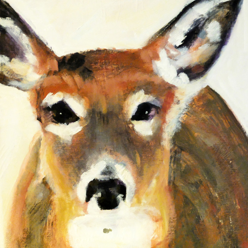 "Oh, Deer! 2015, 10x10"", oil on wood panel by Edith dora Rey"