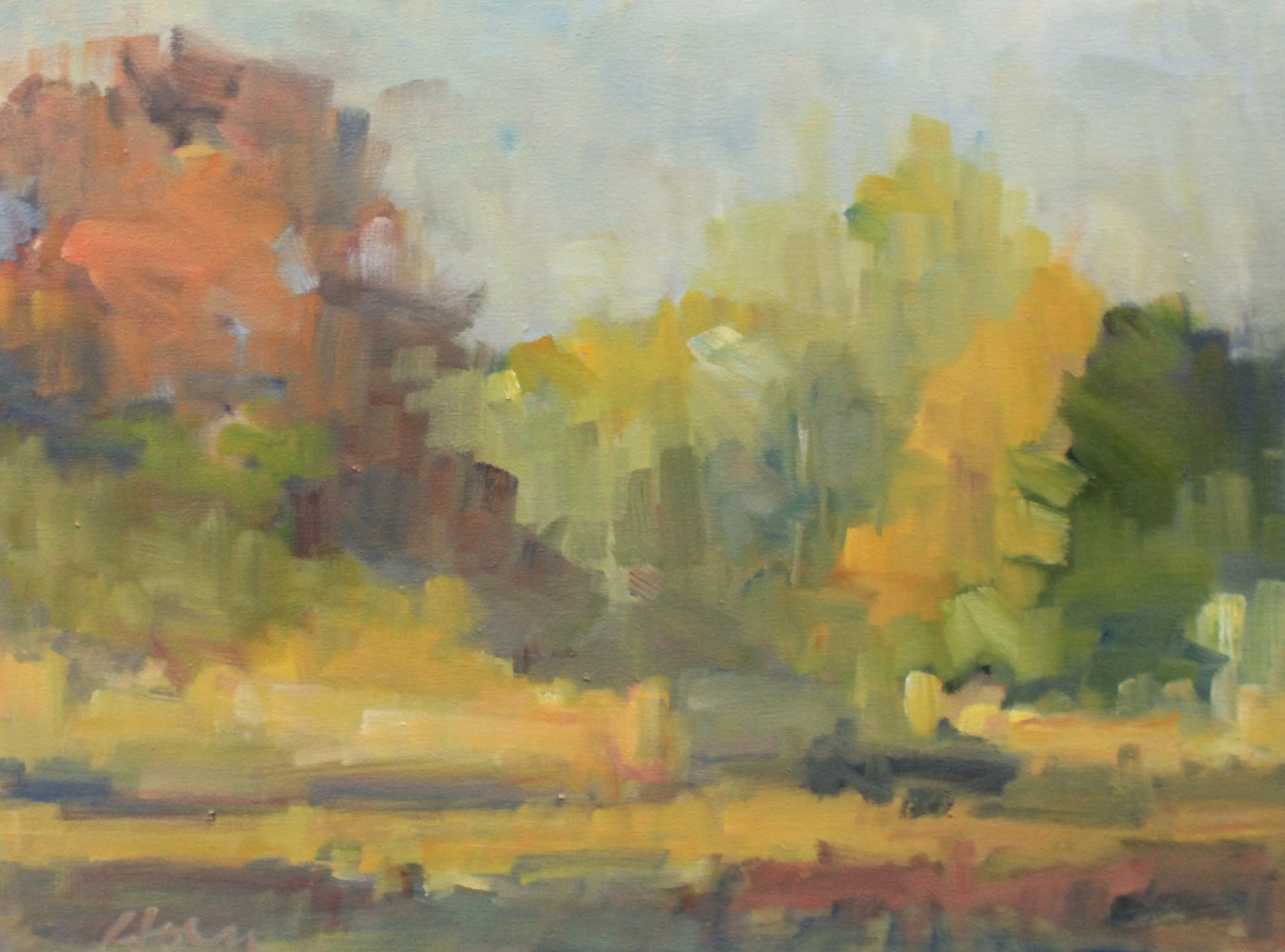 "Oak Trees, Fall, Afton,  oil on canvas, 18"" x 24"" by Susan Horn"