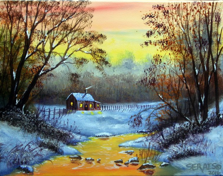 Acrylic painting Winter Morn by George Servais