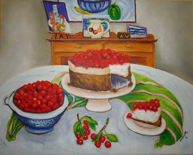 Painting In the early summer of 2015 Ken picked cherries, I made cherry cheesecake and our dog Annie Vick died by Michelle Marcotte