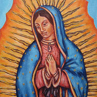 Acrylic painting La Virgen de Guadalupe by Emily K. Grieves
