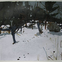Acrylic painting Back Garden, January 31 by Harry Stooshinoff