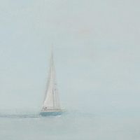Acrylic painting Sailing Into the Mystic by Sally Adams