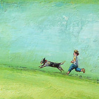 Acrylic painting Catch Me If You Can by Sally Adams