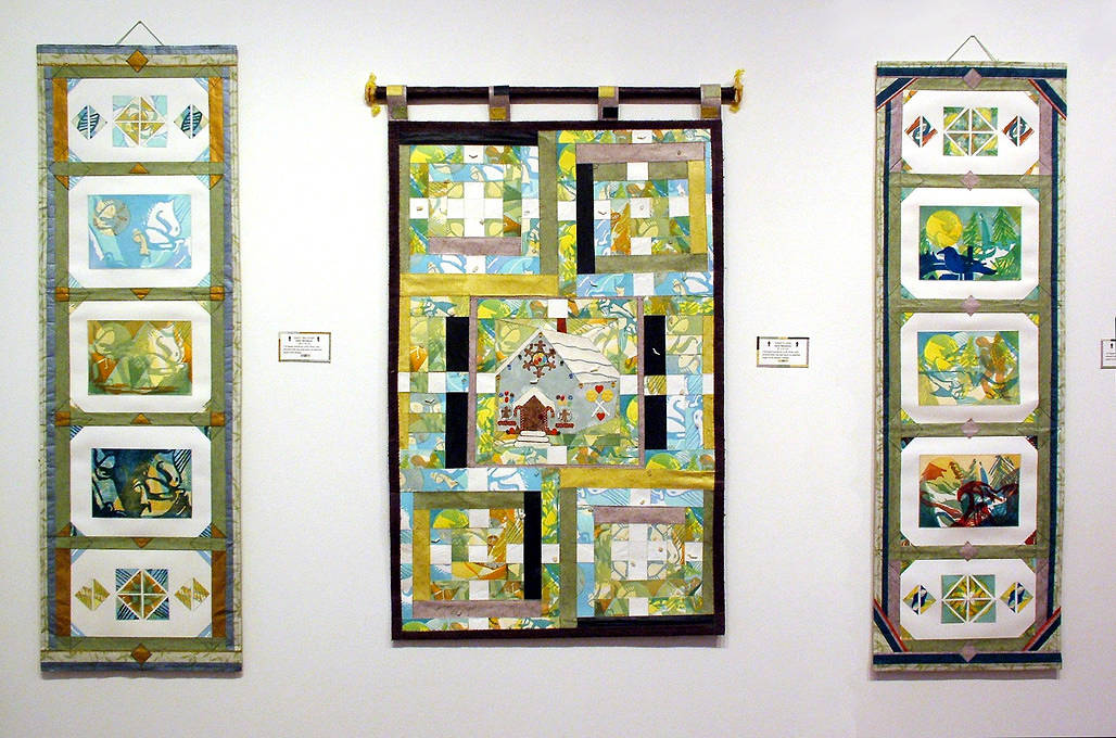 """Hansel and Gretal"", installed with ""Queen Takes Knight"" & ""Threesome"" Scrolls,  by Julie Mcintyre"