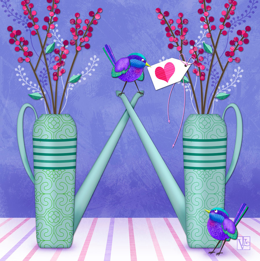W is for Watering Cans  by Valerie Lesiak