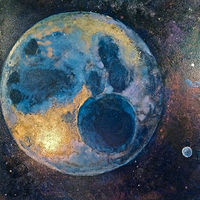 Oil painting Pluto is back by Frederica  Hall