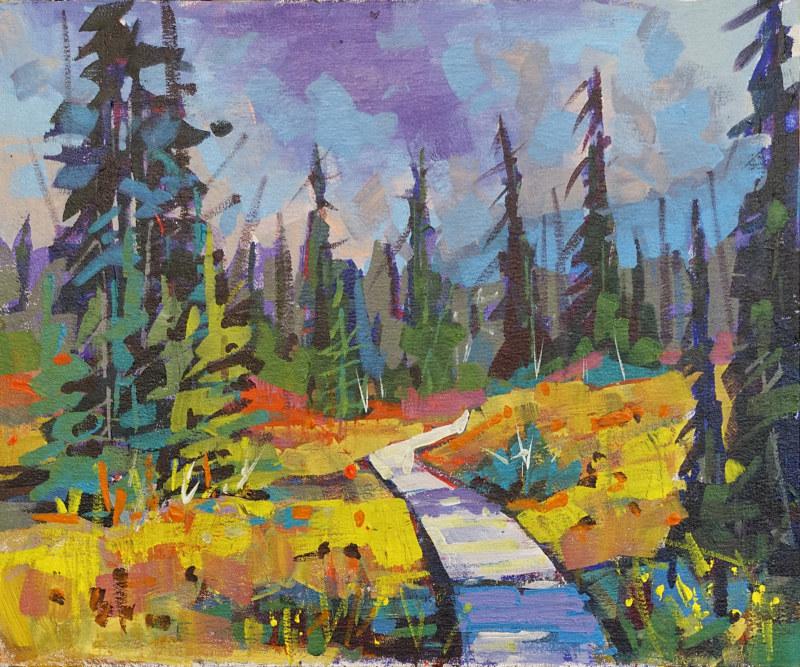 Meadow Hike  Acrylic 16x20 2016 by Brian  Buckrell