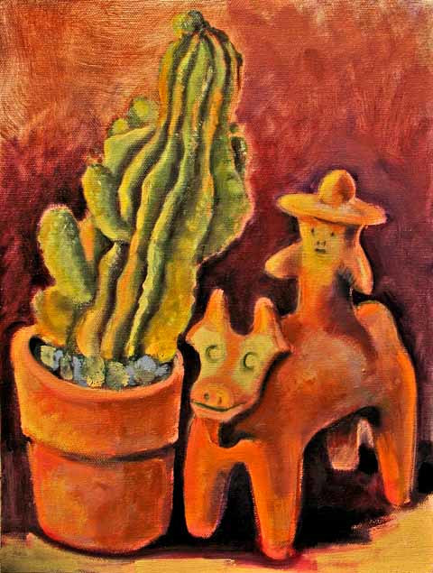 Oil painting cactus man by Diana Lynn