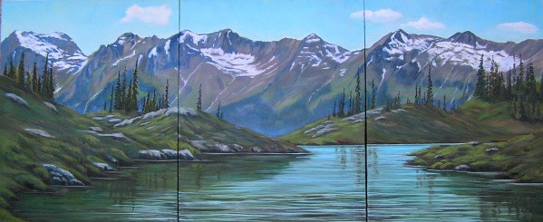 Oil painting Honeymoon Lake - Selkirk Mountain Experience by Cecilia Lea