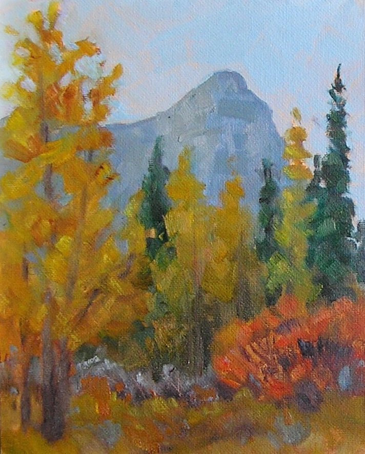 Oil painting Aspen Glow - Canmore, Alberta by Cecilia Lea
