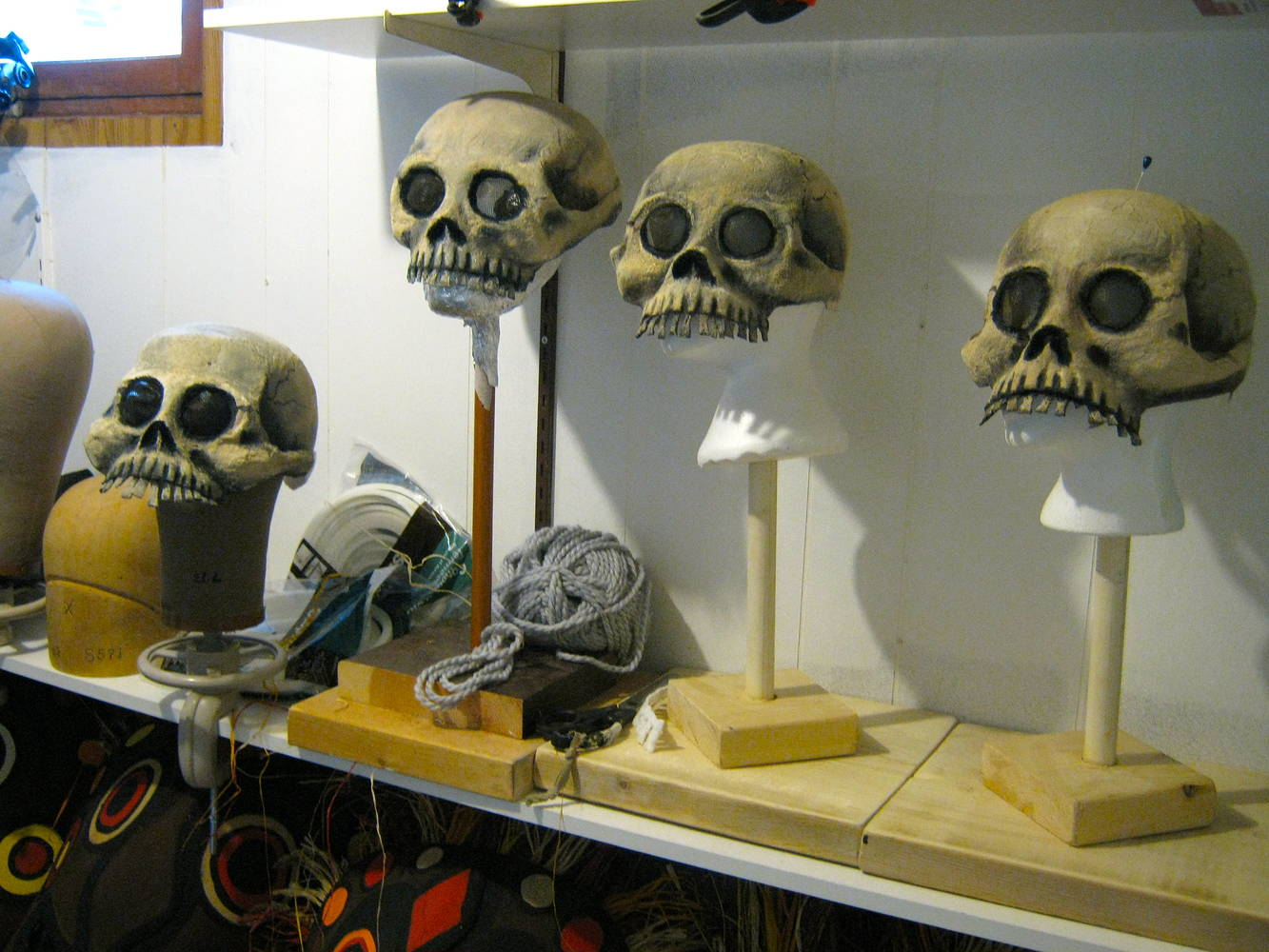 Skull masks in progress by Angela Dale