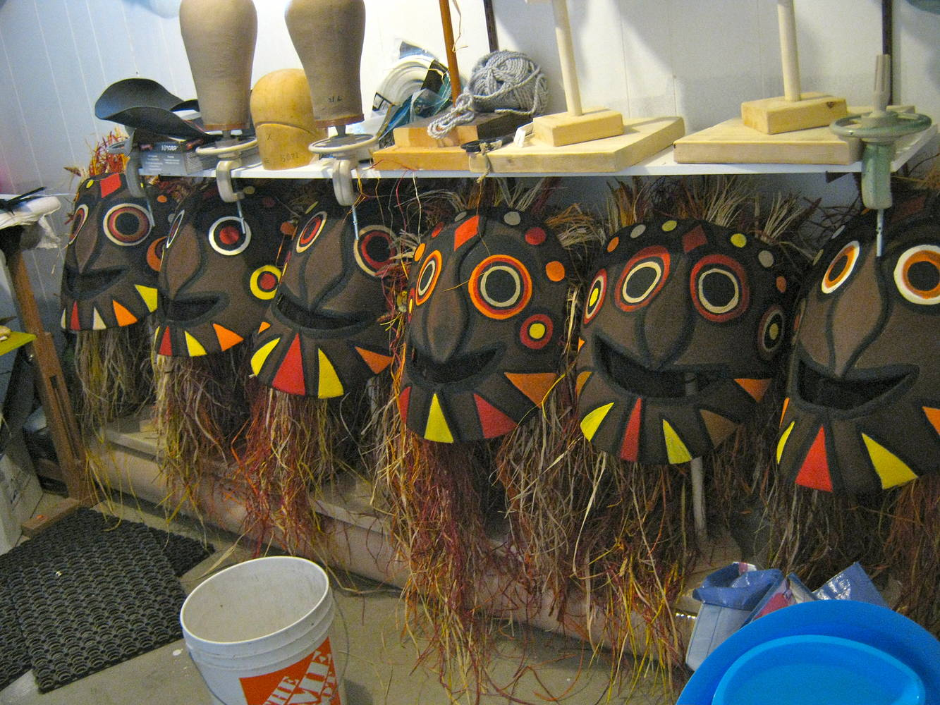 Savage Masks in progress by Angela Dale