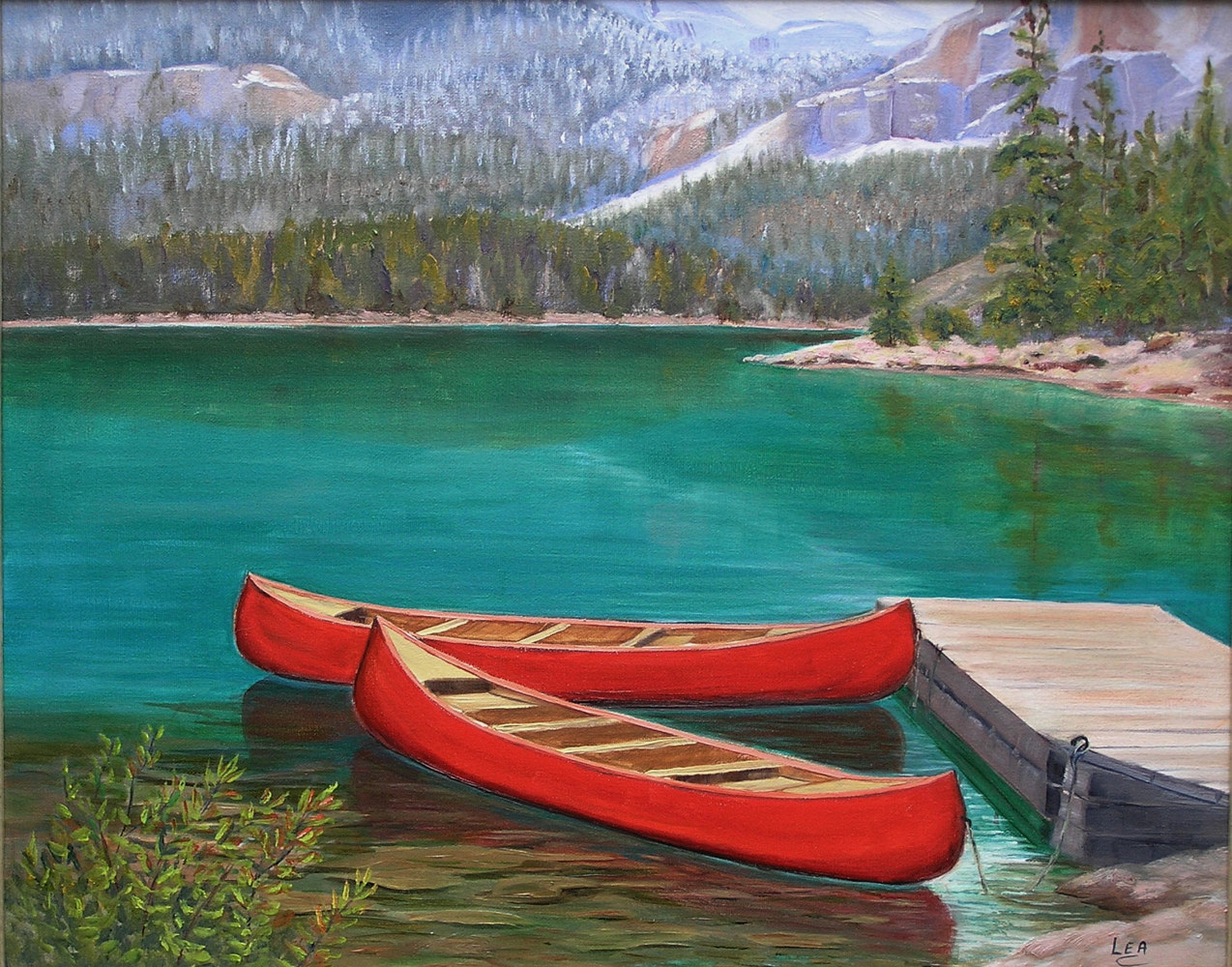Canoes at Lake O'Hara by Cecilia Lea