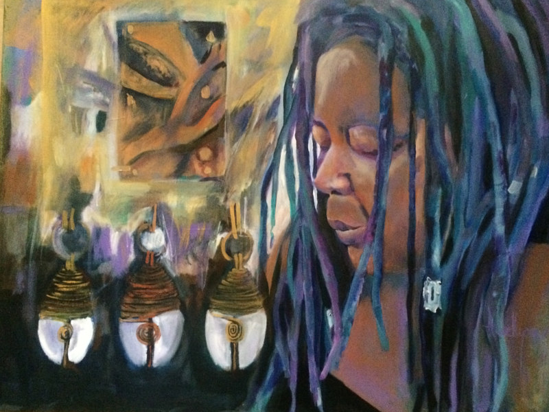 Acrylic painting The Gift of the Cowrie Shell by Ariel Lyons