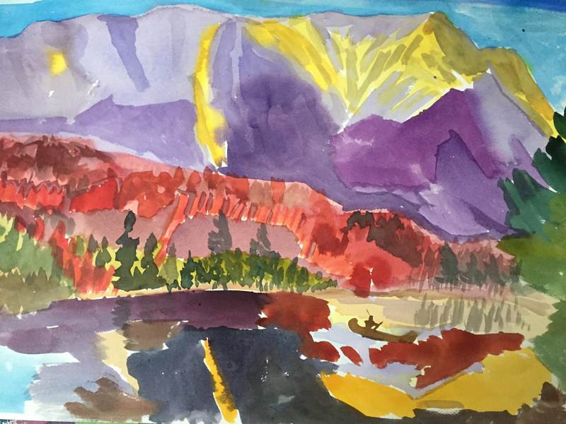 Watercolor Violet Mount Katahdin by Michael Shyka