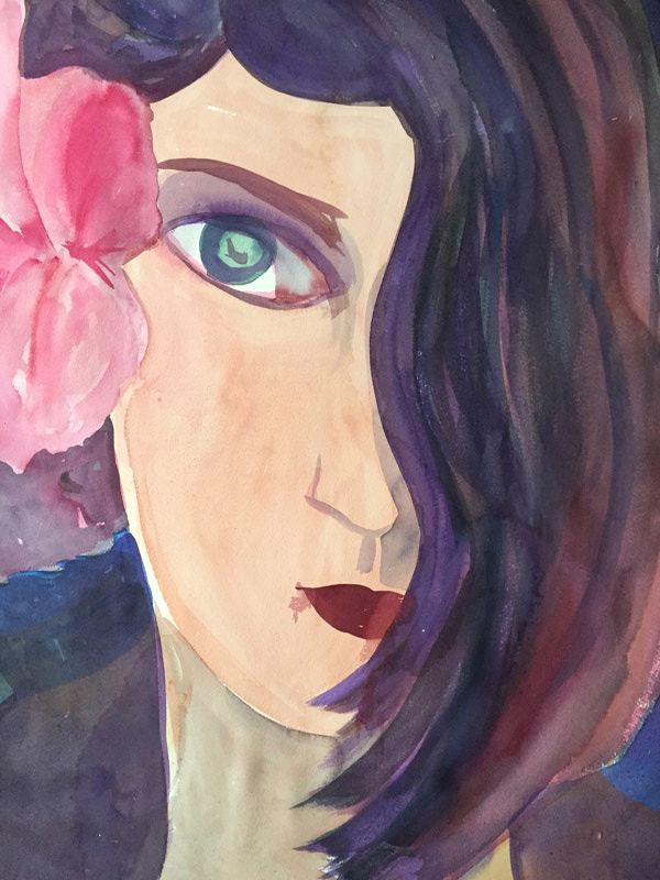 Watercolor Girl With One Eye by Michael Shyka