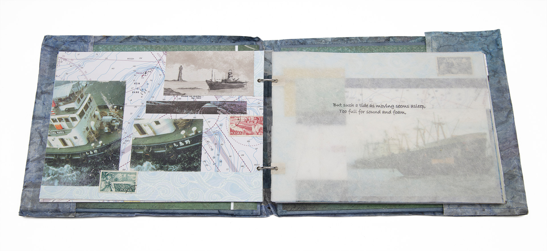 Nautical Log Book, Lithography, gel transfers, collage, assorted papers, glue, thread and 2 metal rings, Size (open) 47 x 22 x 2 cm, 16 pages, November 2013.  by Julie Mcintyre