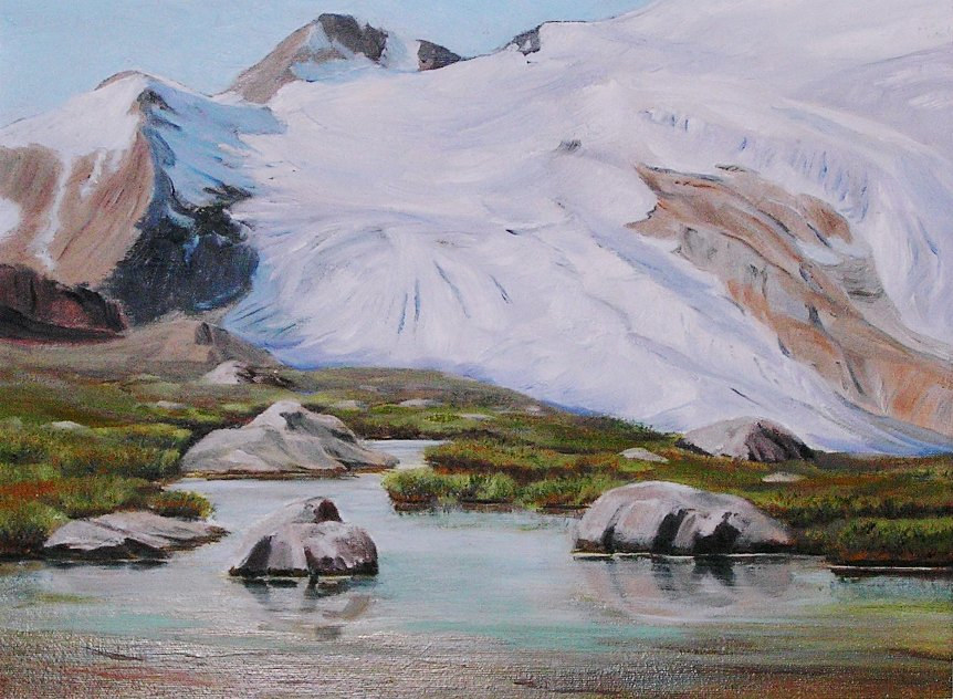 Oil painting Justice Glacier, Selkirks by Cecilia Lea