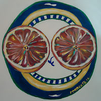 Oil painting Happy Grapefruit  by Michelle Marcotte