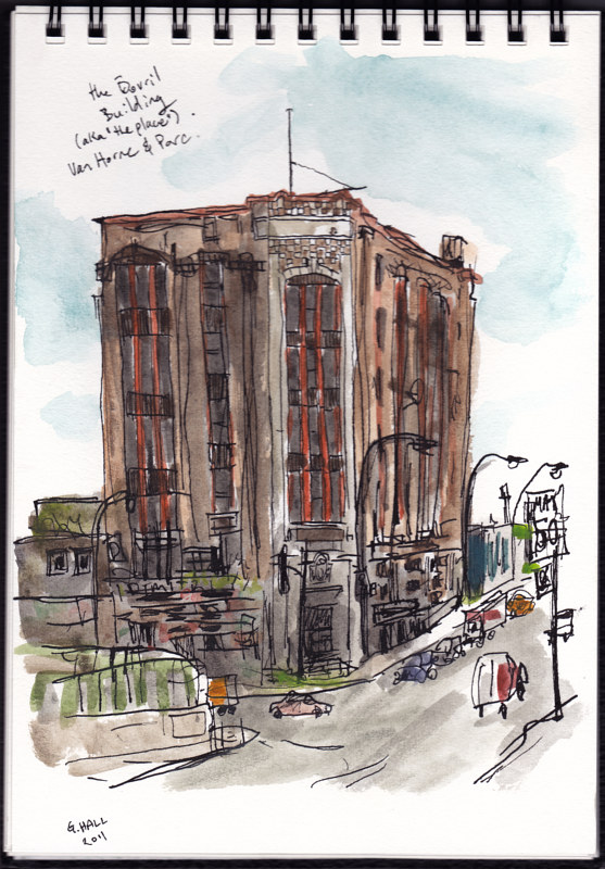 Drawing av. du Parc and Van Horne, the Bovril building by Graham Hall