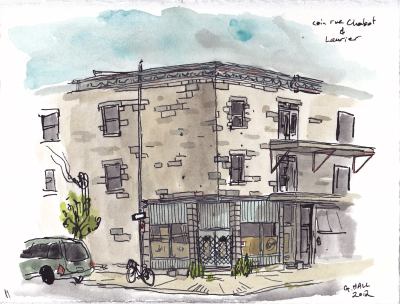 Drawing rue Chabot and av. Laurier by Graham Hall