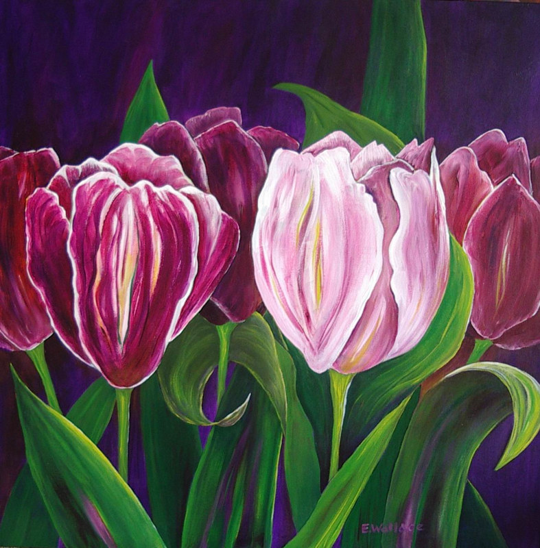 Acrylic painting Shades of Spring by Vicki Allesia