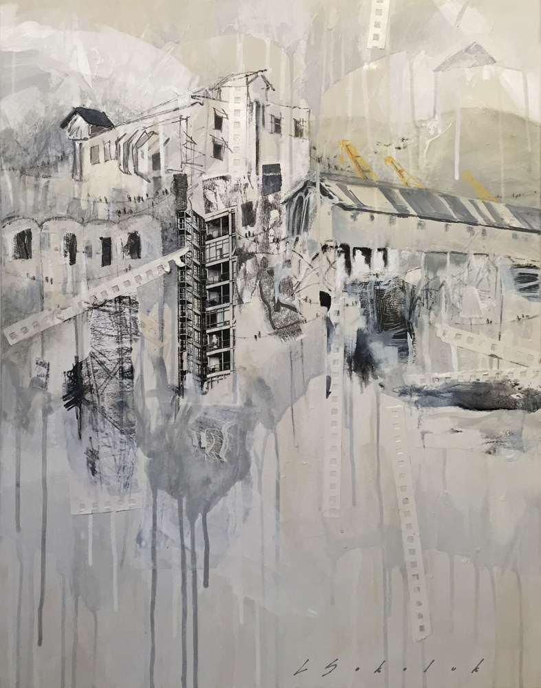 Mixed-media artwork PortTown 1 by Lori Sokoluk