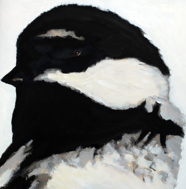 Oil painting Vale Perkins Chickadee, 2016 by Edith dora Rey