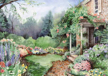 Watercolor Garden Entrance  by Betty Ann  Medeiros