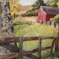 Oil painting New England Farm  by Betty Ann  Medeiros