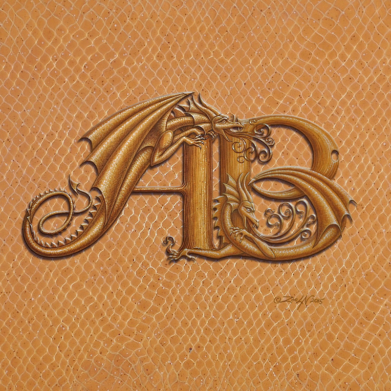 Print Two letter Monogram, horizontal by Sue Ellen Brown