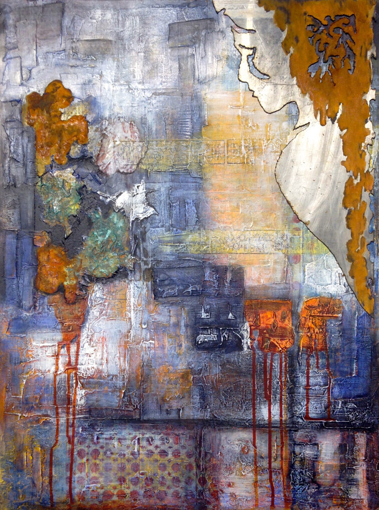 Mixed-media artwork Reflection by Karen Holland