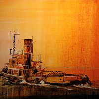 Acrylic painting Standby Tug ...SOLD! by Nella Lush