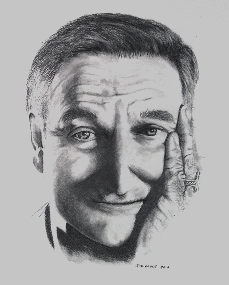 Drawing Thank you for believing, Robin Williams by David Neace