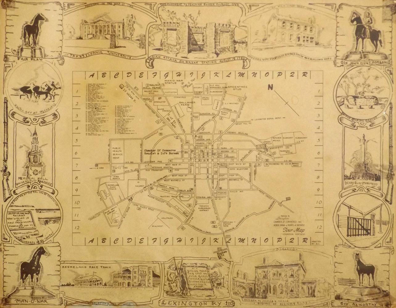 1950s Map of Lexington Kentucky David Neace Artist