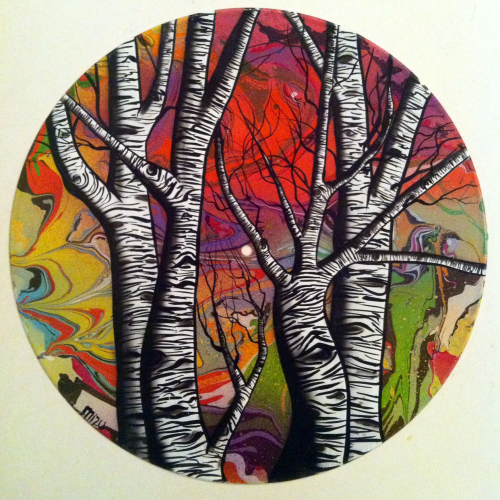 Marbled Sky & Aspens  - Painting on Vinyl Record by Mr Mizu by Isaac Carpenter