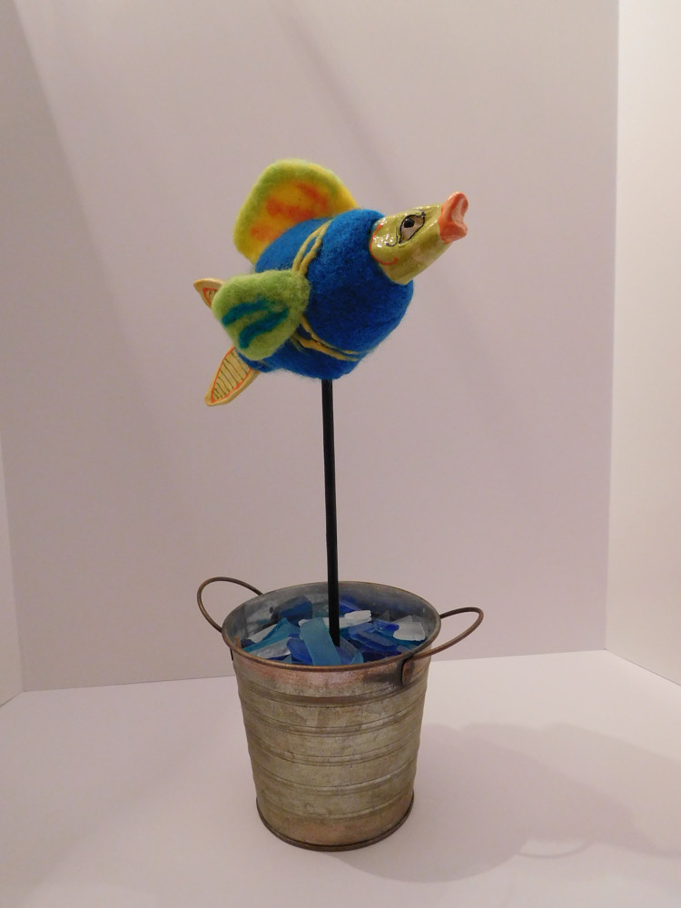 Sculpture Fancy Fish in a bucket by Valerie Johnson