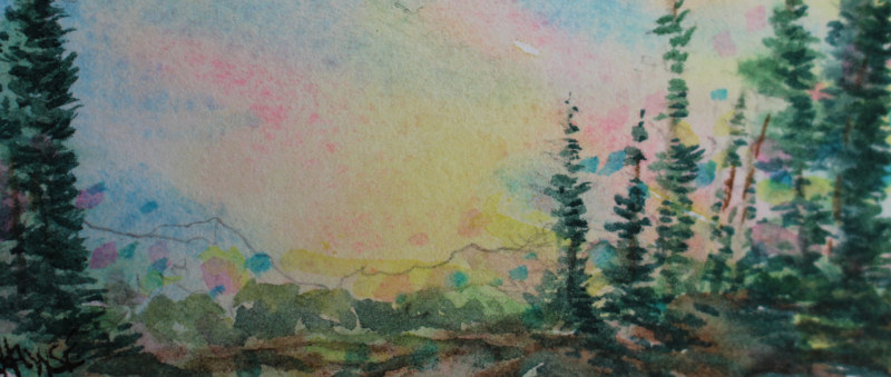 Watercolor Hiking Behind Paradise Lake # 1 by Wanda Hawse