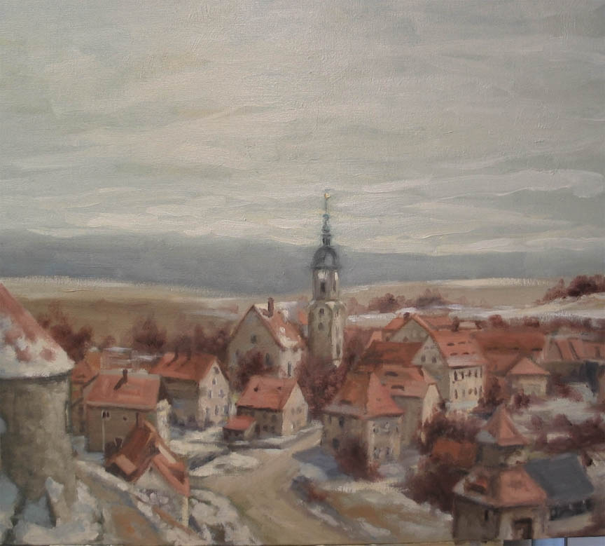 Oil painting Dohna My Home Town by Josef-peter  Roemer