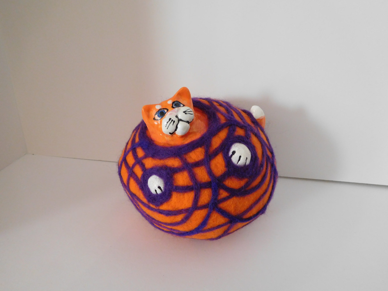 Sculpture Felted bubble cat by Valerie Johnson