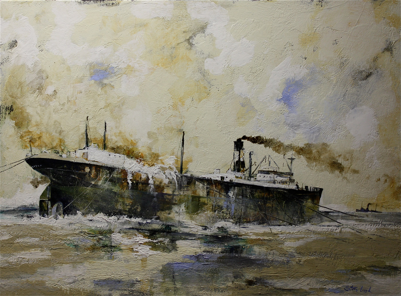 Oil painting Aground! Available at the Bowersock Gallery, Provincetown, MA. by Nella Lush