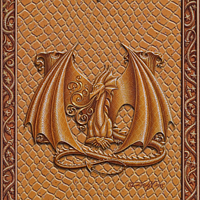 Draco Token M, Gold on Gold by Sue Ellen Brown