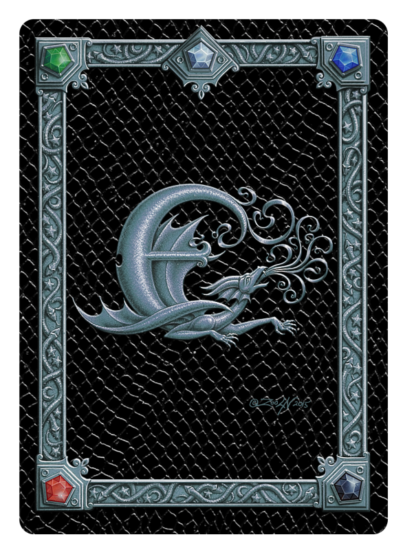 Draco Token E, Silver on Black by Sue Ellen Brown